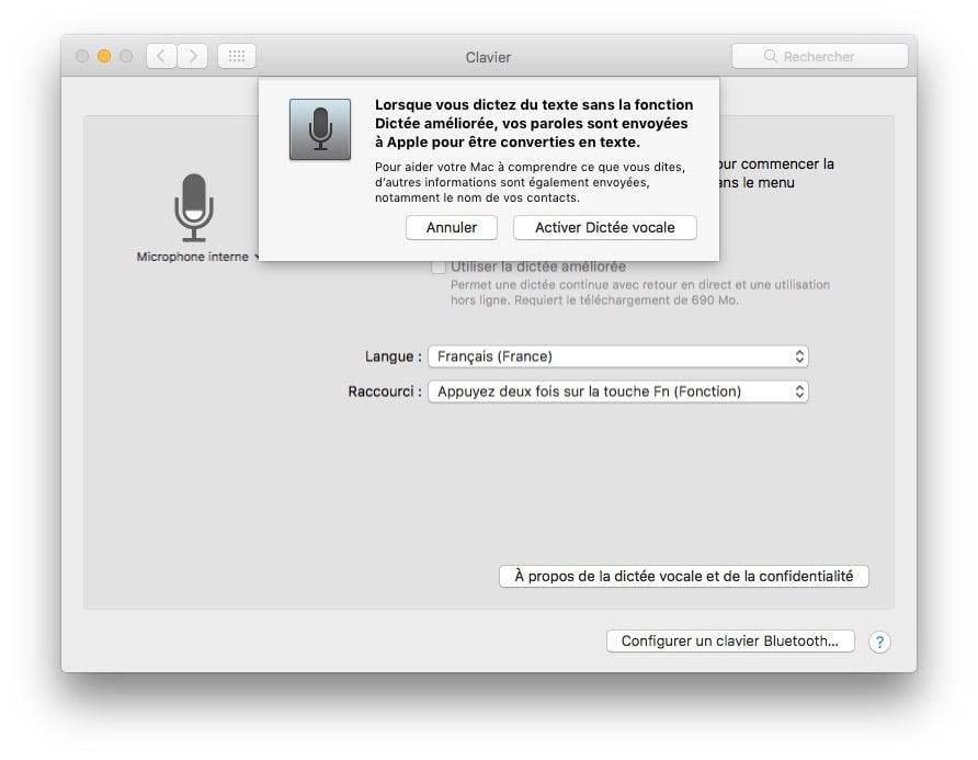 Activer la dictée vocale Mac OS Sierra paroles