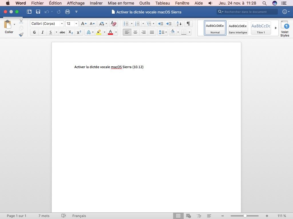 Activer la dictee vocale Mac OS Sierra word