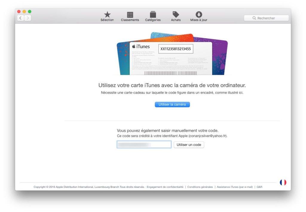 Carte cadeau Apple mac app store utiliser un code