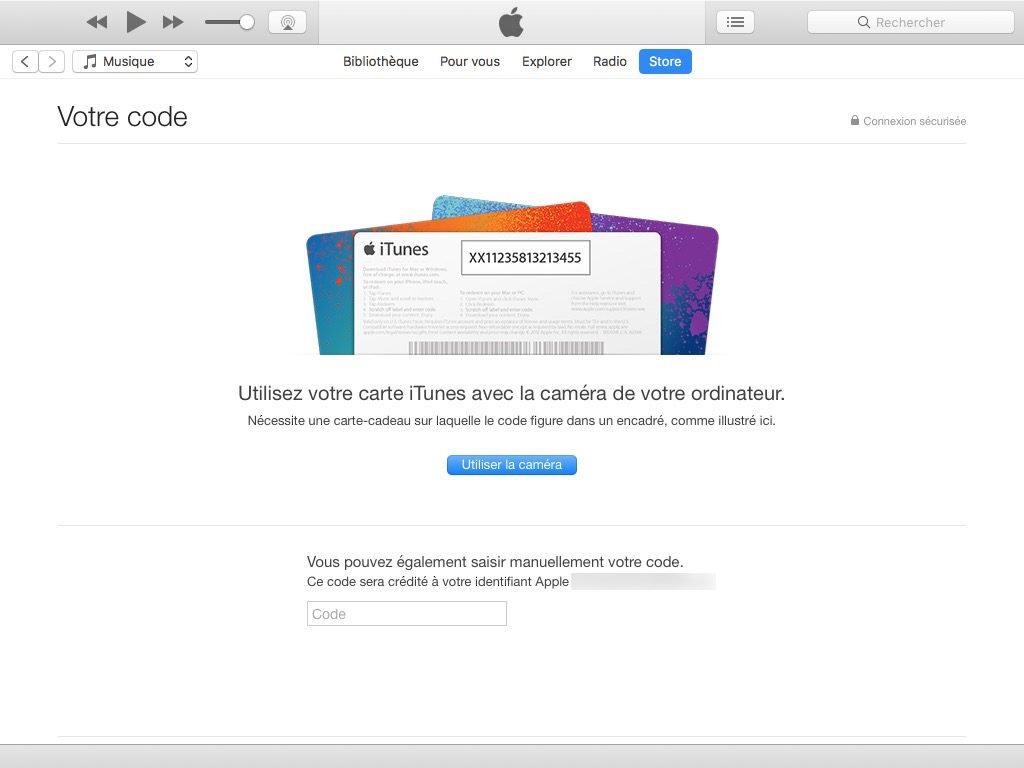 carte cadeau apple itunes mac pc saisir code