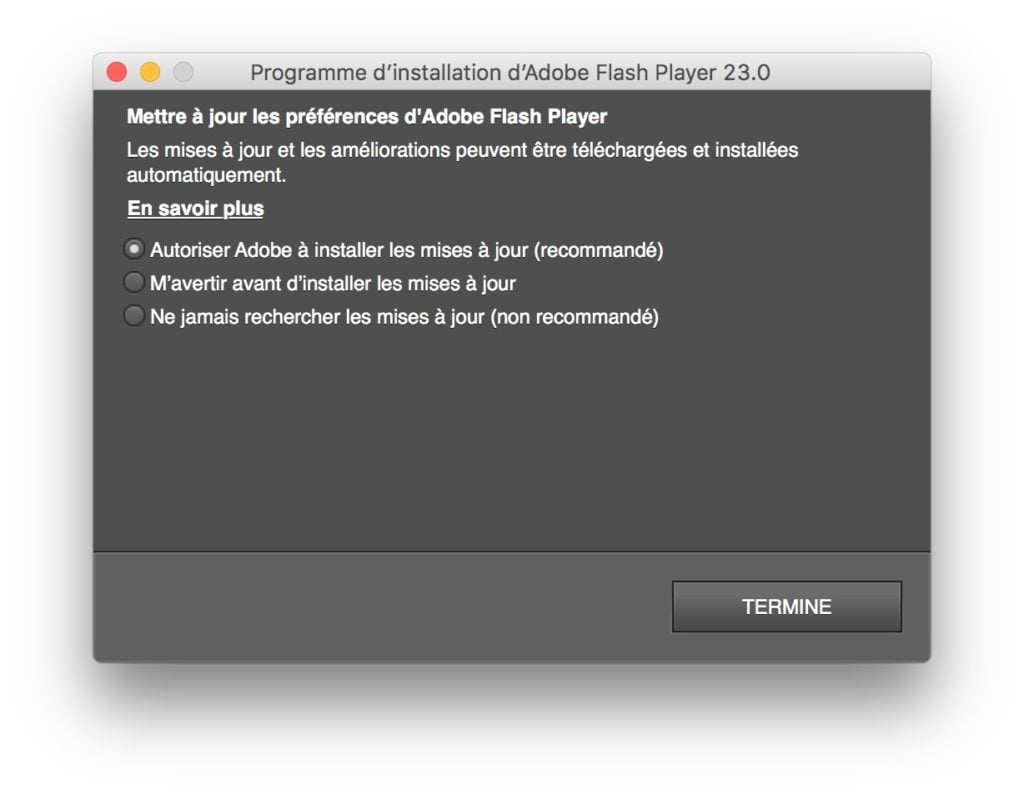 Installer Flash Player Mac OS Sierra autoriser maj