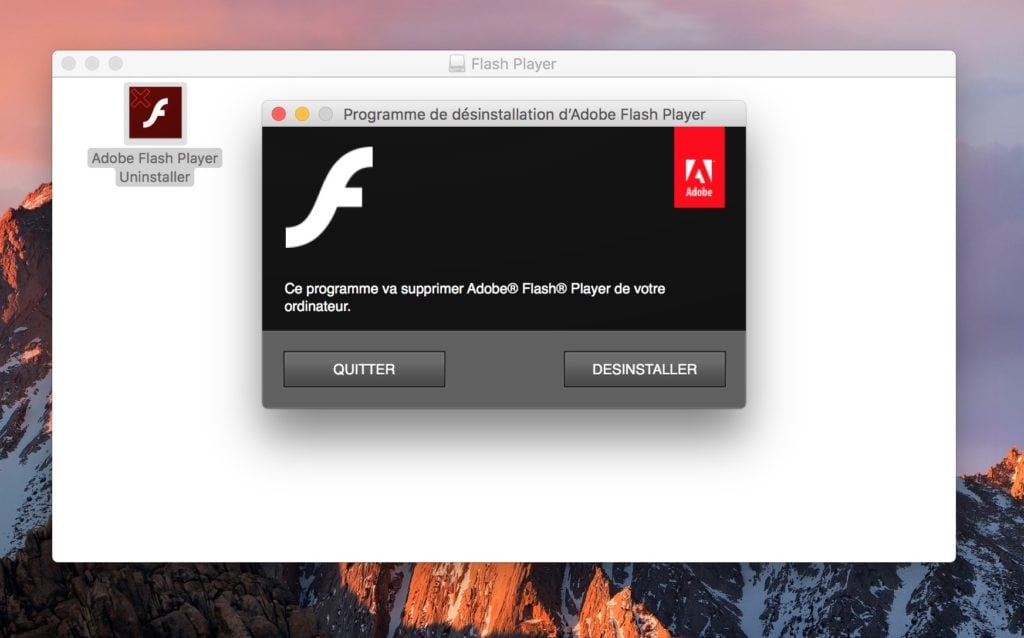 Installer Flash Player Mac OS Sierra desinstaller