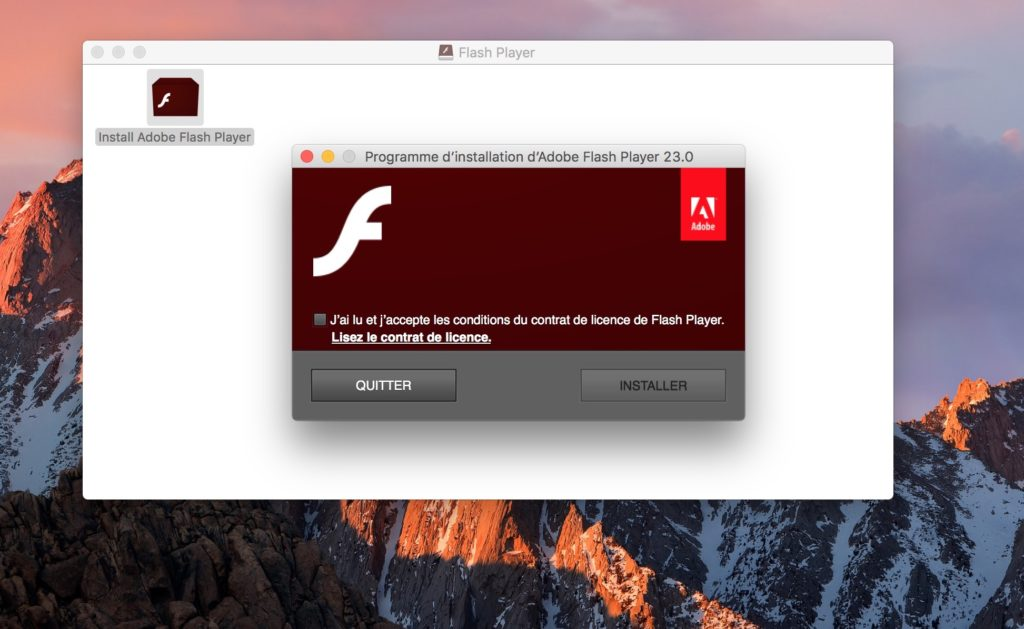 Installer Flash Player Mac OS Sierra dmg