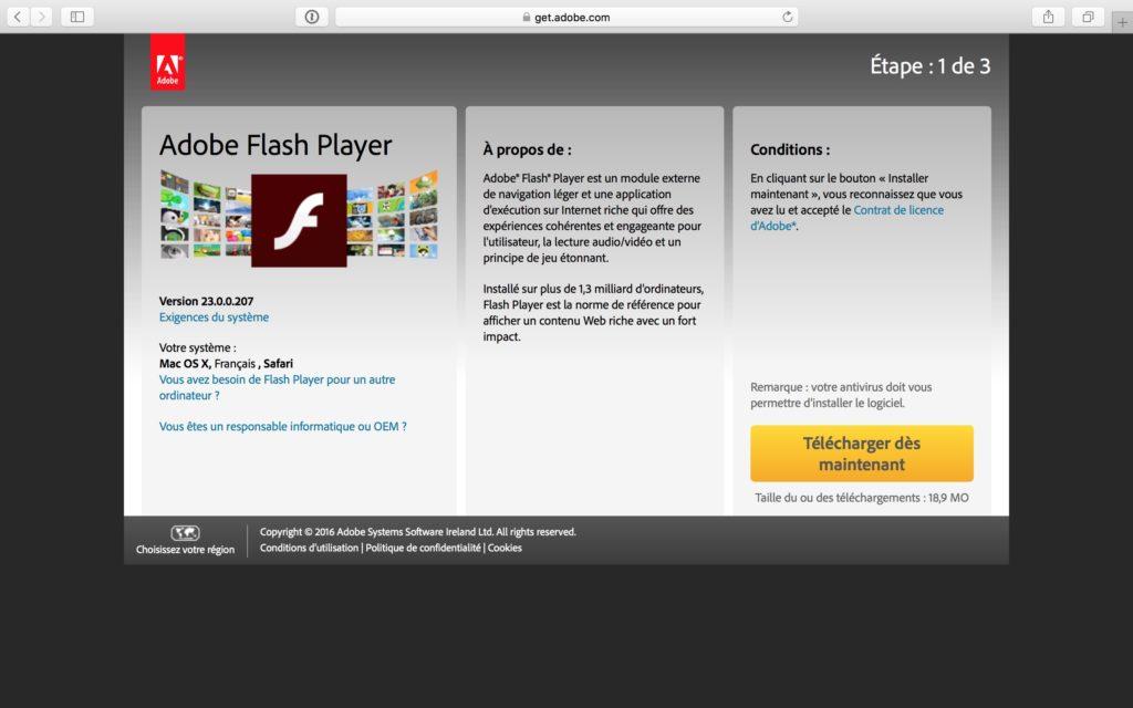 Installer Flash Player Mac OS Sierra safari