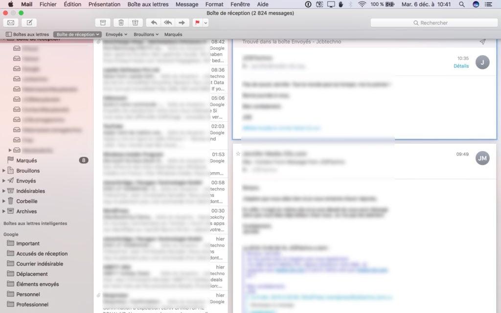 Afficher les messages les plus récents en haut avec Mail mac