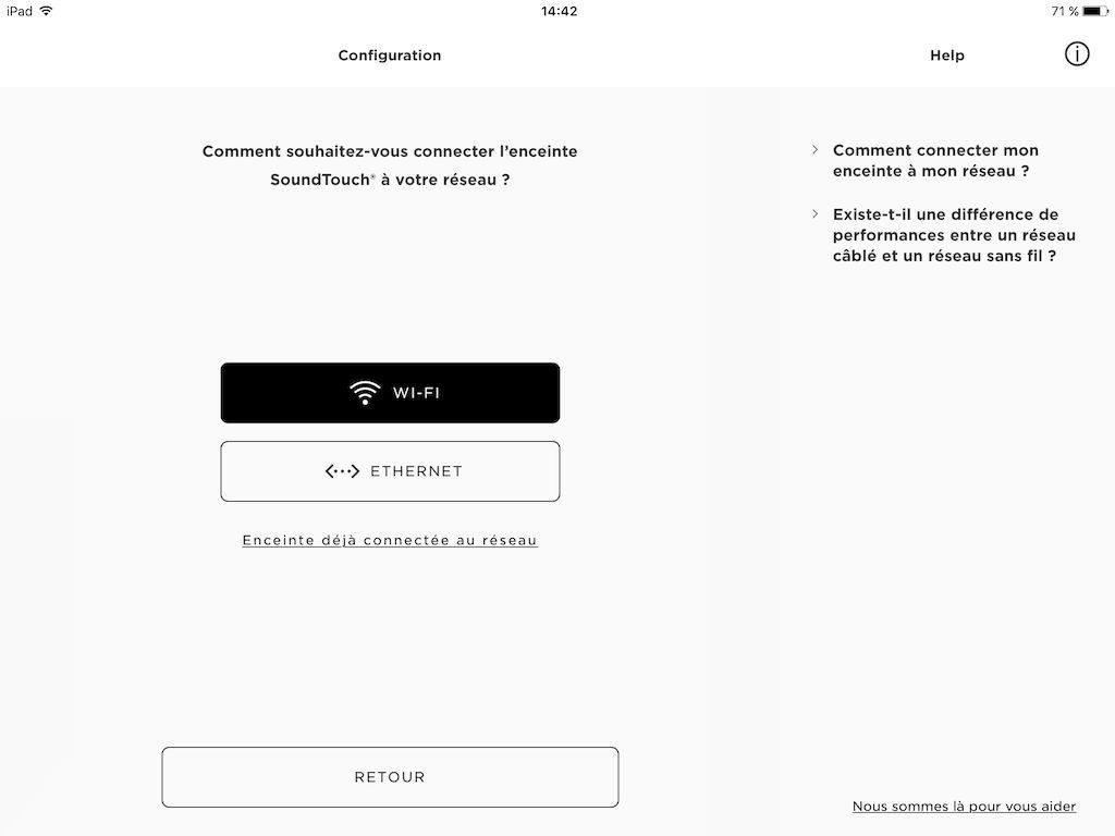 Bose SoundTouch 30 choix reseau