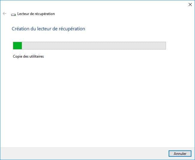 Windows 10 ne démarre plus creer un lecteur de recuperation copie utilitaires