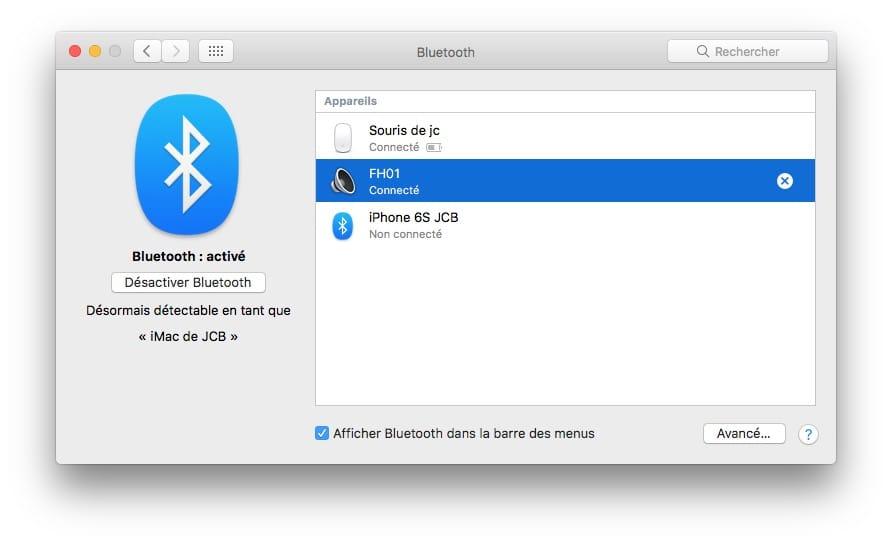 connecter une enceinte Bluetooth au mac jumeler