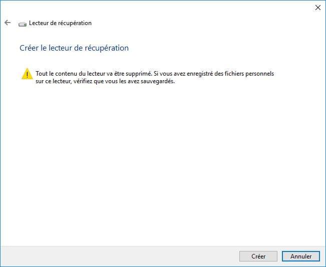 Windows 10 ne démarre plus lecteur de recuperation formatage