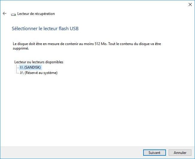 Windows 10 ne démarre plus lecteur de recuperation taille cle usb
