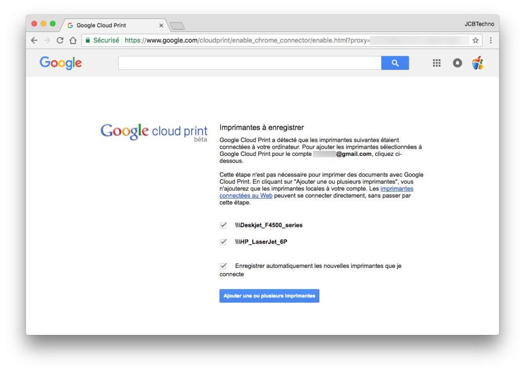 Google Cloud Print ajouter imprimante a enregistrer