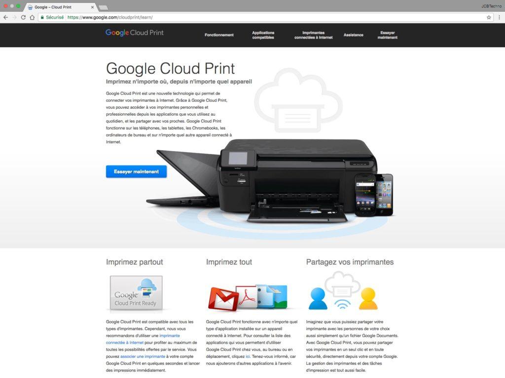 Google Cloud Print cest quoi