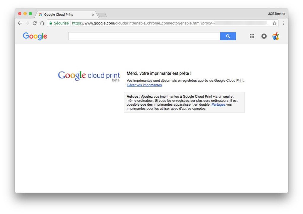 Google Cloud Print imprimante connectée
