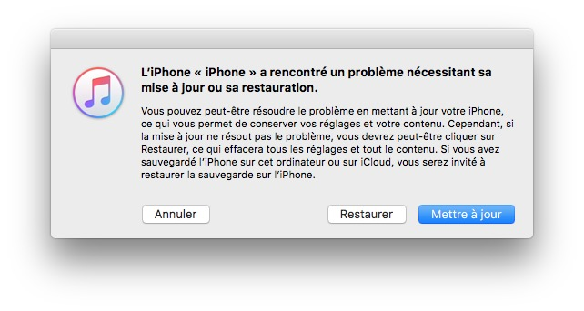 iPhone bloque sur le logo Apple mise a jour restauration
