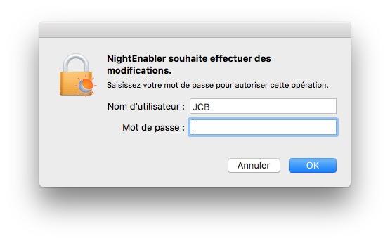 Activer Night Shift sur les Mac non compatibles mot de passe admin