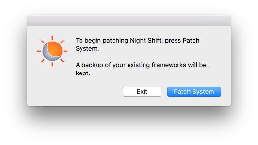 Activer Night Shift sur les Mac non compatibles patch system