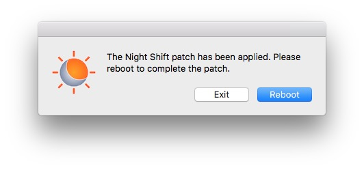 Activer Night Shift sur les Mac non compatibles rebooter
