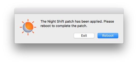 Activer Night Shift sur les Mac non compatibles rebooter