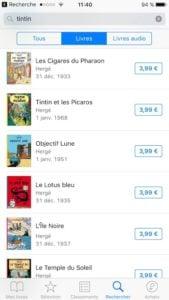 Tintin sur ibooks pour iphone