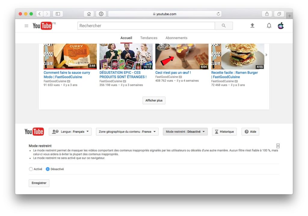 activer le controle parental YouTube safari chrome edge firefox