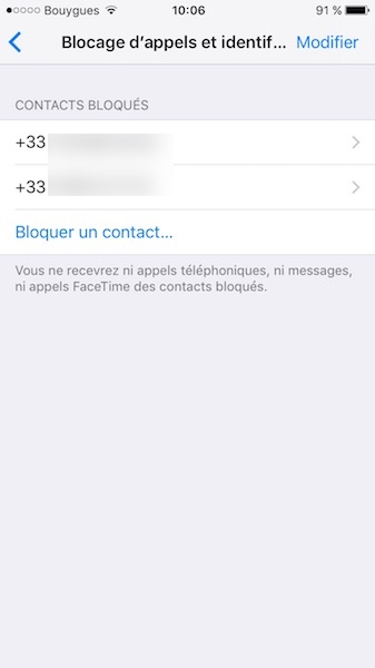 bloquer un contact sur iphone