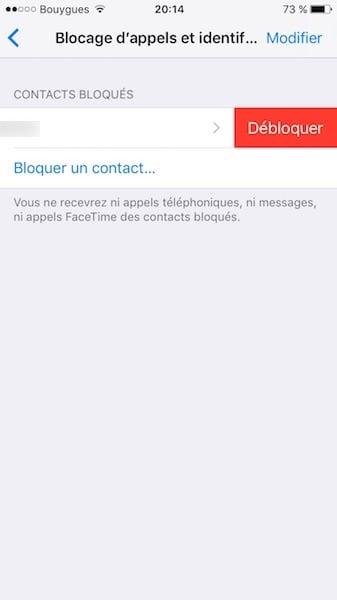 debloquer contact iphone