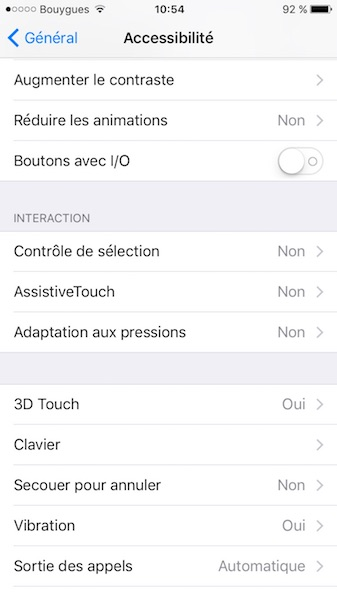 ios 10 augmenter le contraste