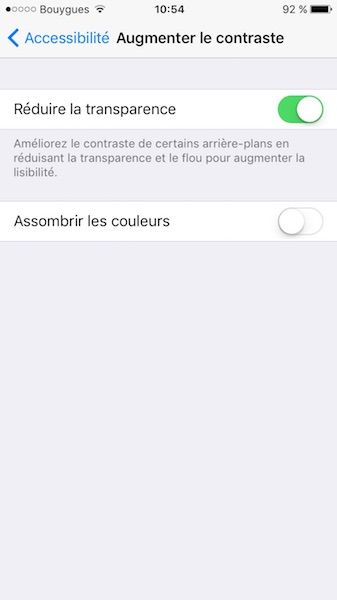 ios 10 reduire la transparence