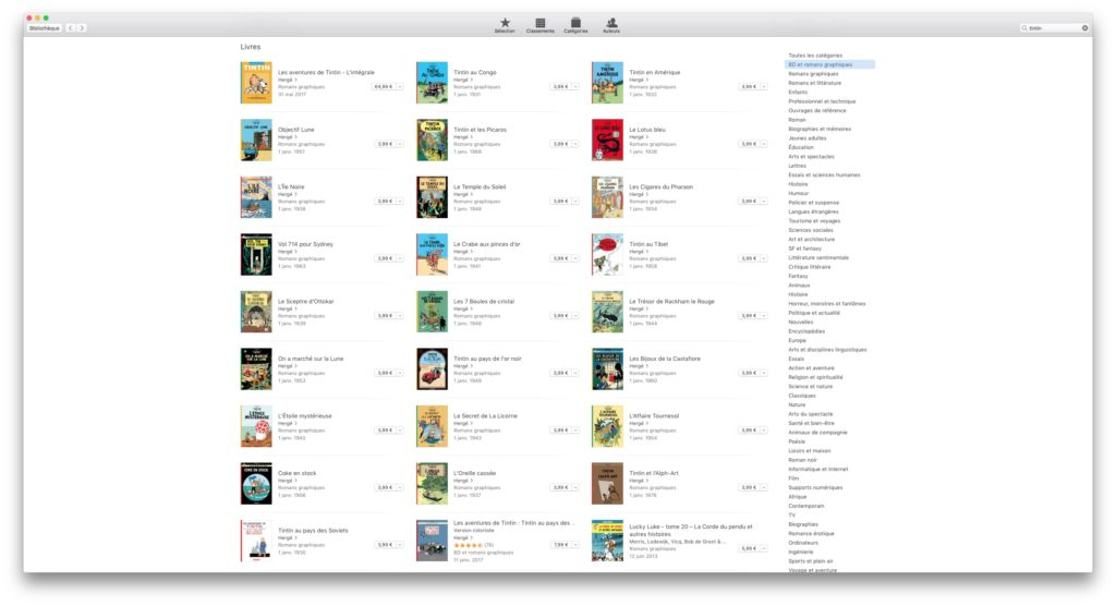 les aventures de Tintin sur iBooks store
