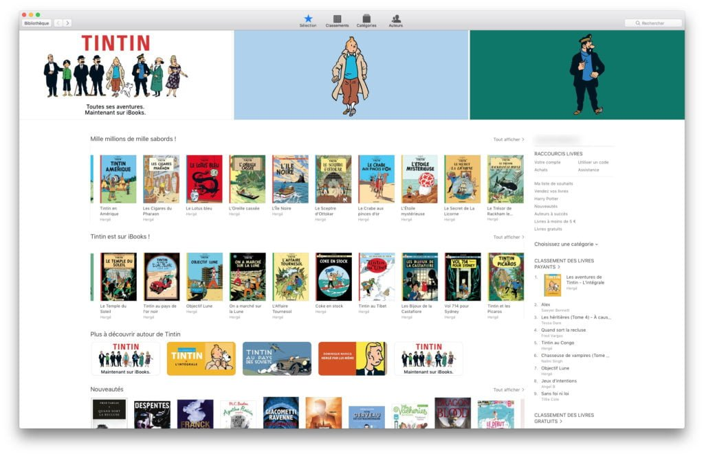 tintin sur ibookstore mac