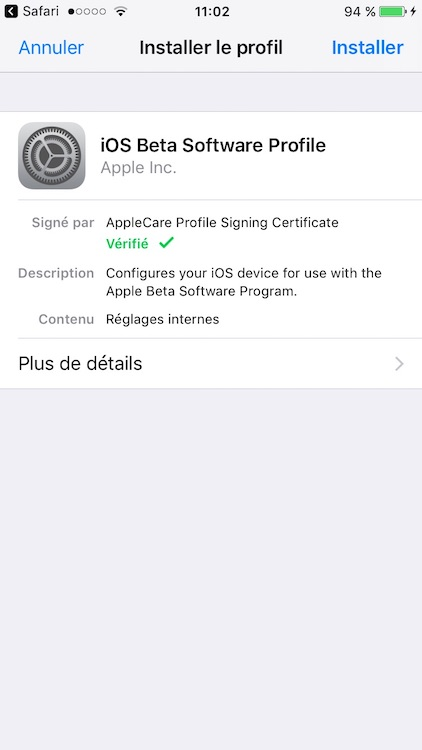 Installer iOS 11 beta iphone ipad ipod