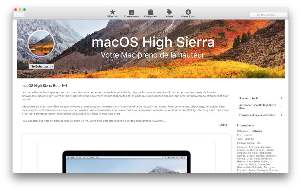 Installer macOS High Sierra beta publique app store