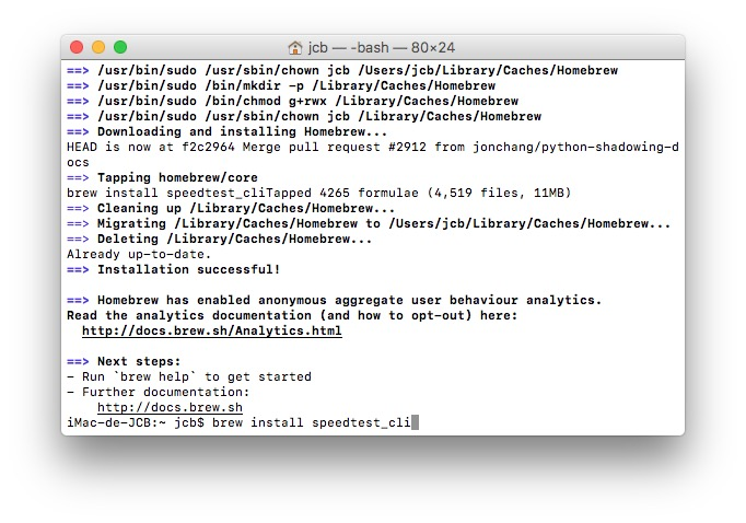Tester son debit Internet sur mac brew install speedtest_cli