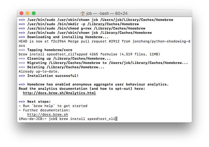 Tester son debit Internet sur mac brew install speedtest_cli