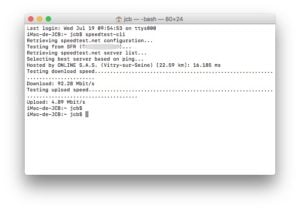 Tester son debit Internet sur mac speedtest-cli commande
