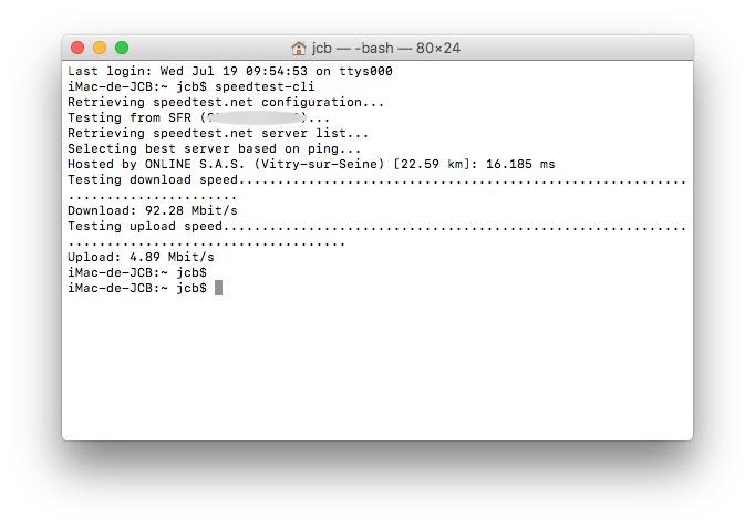 Tester son debit Internet sur mac speedtest-cli commande