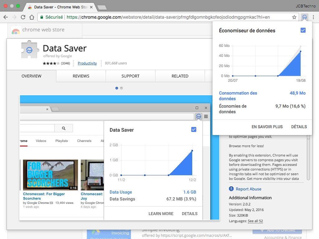 Accelerer Google Chrome Mac data saver extension