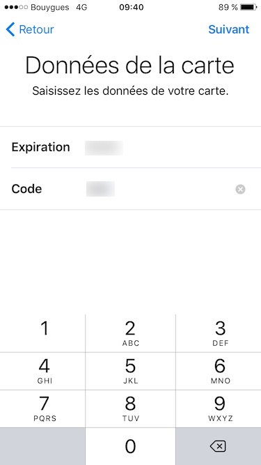 Configurer Apple Pay date expiration et code