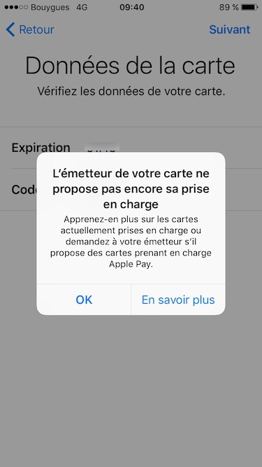 Configurer Apple Pay iphone carte prise en charge