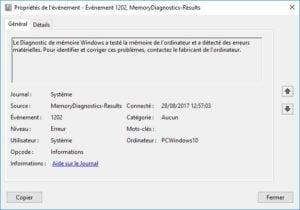 Tester sa RAM sous Windows 10 memoire erreurs materielles