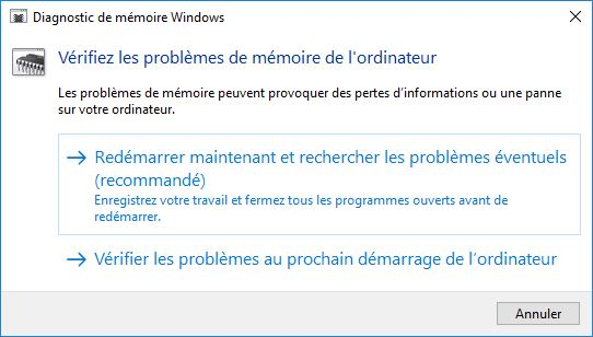 Tester sa RAM sous Windows 10 redemarrer et scanner memoire