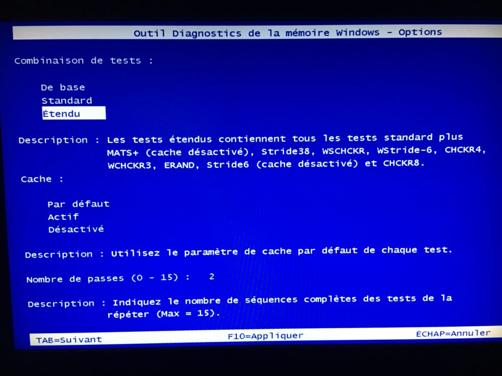 Tester sa RAM sous Windows 10 scan etendu