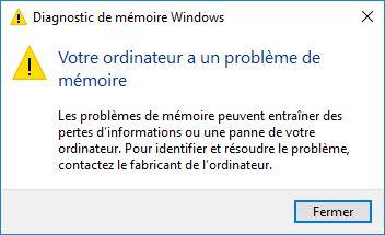 Tester sa RAM sous Windows 10 votre ordinateur a un probleme de memoire