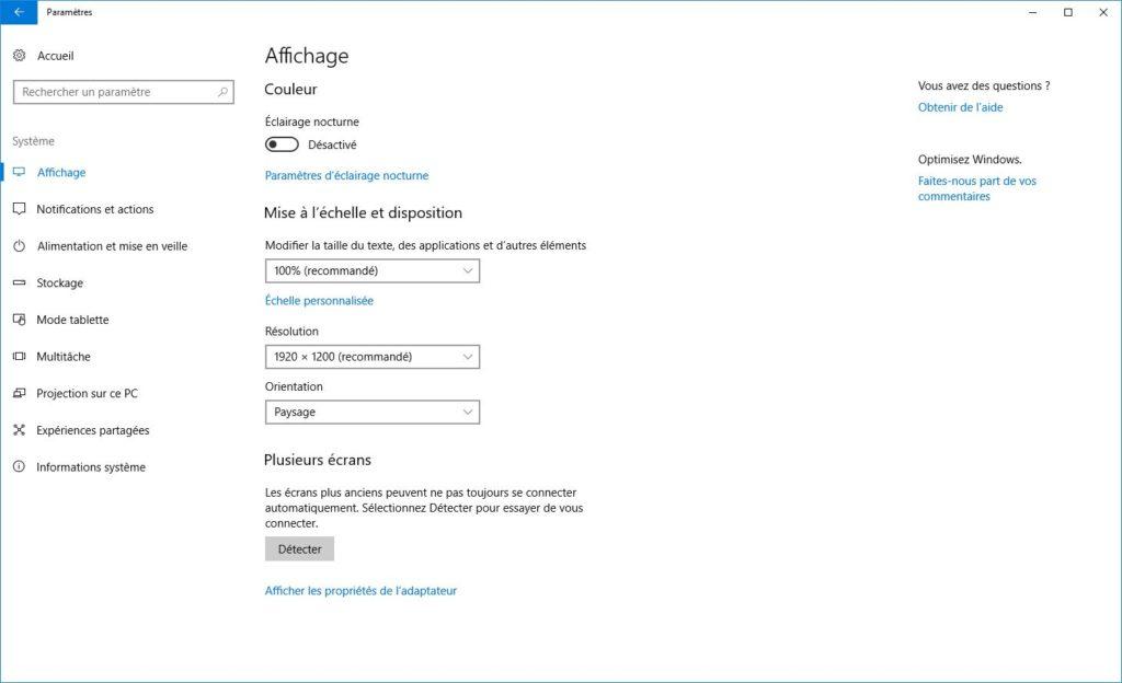 Activer l'éclairage nocturne de Windows 10 couleur