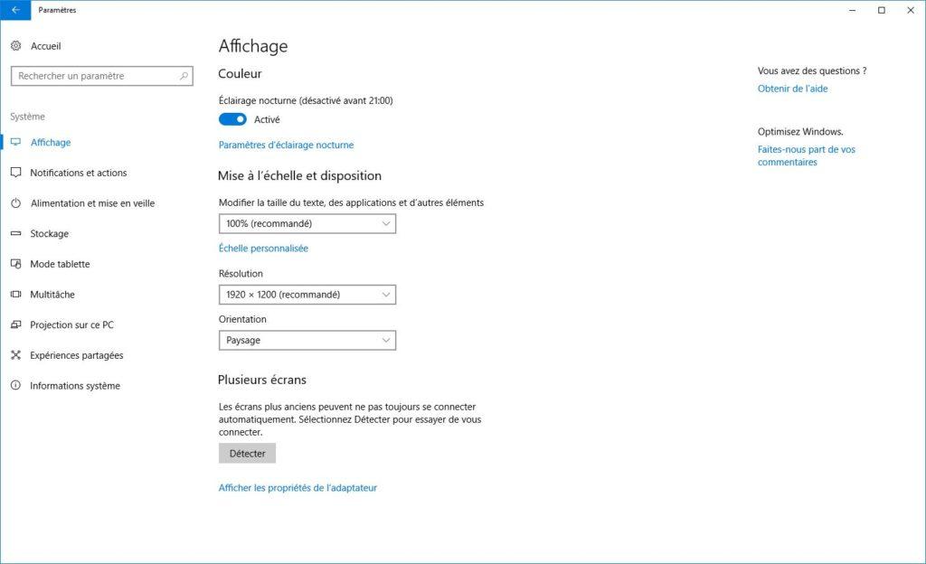 Activer l'éclairage nocturne de Windows 10 menu affichage