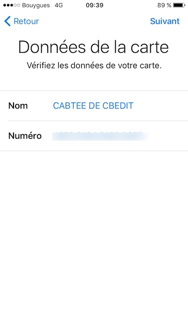 configurer apple pay verifier donnees de la carte