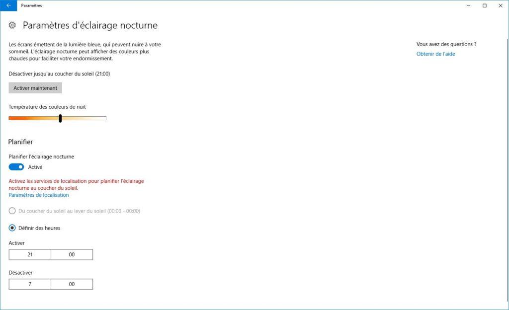 Activer l'éclairage nocturne de Windows 10 parametres eclairage nocturne
