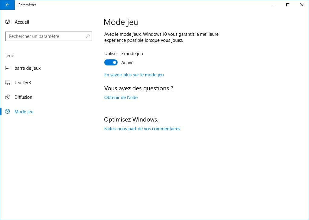 activer le mode de jeu windows 10