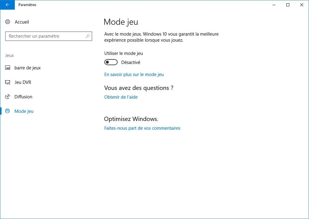 activer le mode jeu windows 10 en un clic