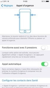 iPhone appel durgence 5 pressions